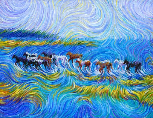 不一样的星空油画,现代画家画出梵高的另类星空.(图片来源:互联